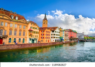 Beautiful river Limmat and city center of Zurich, Switzerland