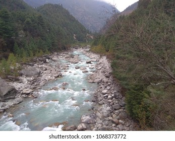 Beautiful river in the middle of mountain landscapes. Phakding is one checkpoint from Lukla to Everest Base Camp