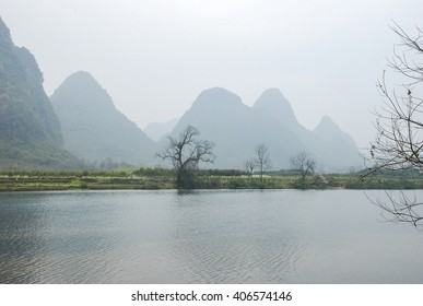 Beautiful river and mountains scenery in spring