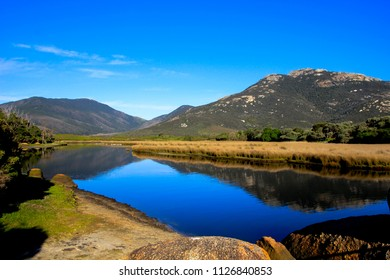 Beautiful River with reflection of mountains leading to the ocean in Wilsons Promontory in the State  Victoria,Australia, Wilsons Promontory National Park is on a peninsula southeast of Melbourne,
