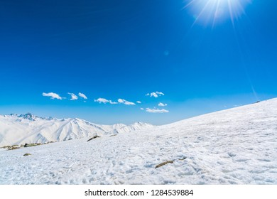 Beautiful  River and snow covered mountains landscape Kashmir state, India