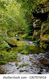 A beautiful river in a valley of Bohemian Switzerland park, forest of Czech-Saxon Schweiz, with sandstone rocks