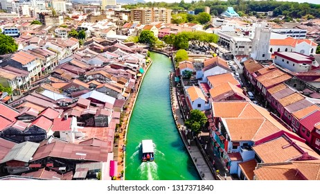 Beautiful River View of Melaka City, a UNESCO World Heritage Site of the Straits of Malacca in Malaysia, Southeast Asia