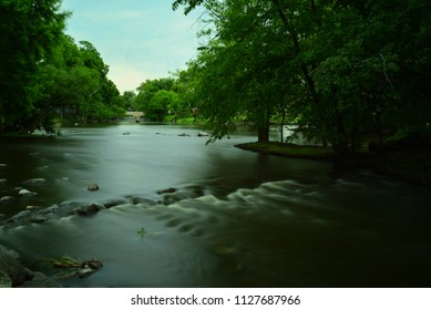 A beautiful river view taken as a time exposure to smooth the waters.