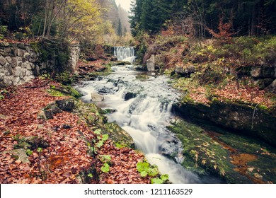 Beautiful river with waterfall in the autumn nature
