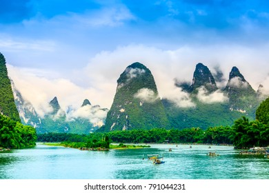 The beautiful rivers and landscape of the Lijiang River in Guili