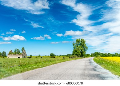Beautiful road across the countryside in summer.