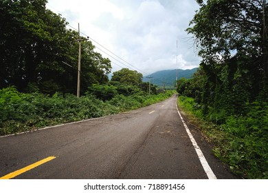 Beautiful The road in the countryside nature landscape covered by green pine forests at summer.  Chiang Rai, Thailand