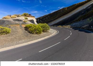 Beautiful road near Mirador La Tarta. Las Cañadas del Teide. Tenerife. Canary Islands.Spain