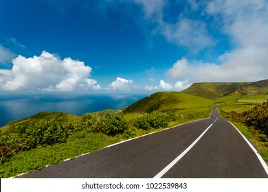 Beautiful road on Flores Island, Azores, Portugal