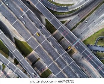 Beautiful road traffic car aerial top view Thailand highway