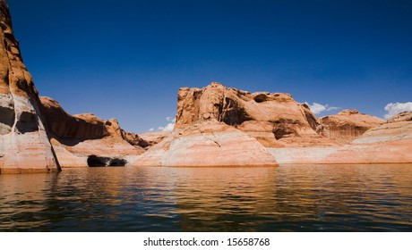Beautiful rock formation at Lake Powell in Glen Canyon National Recreation Area, Utah