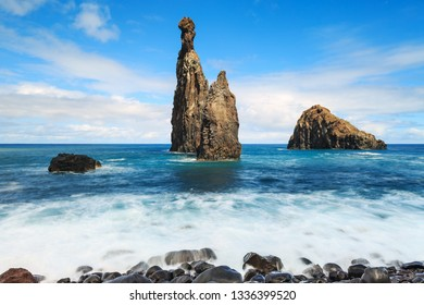 Beautiful rock formations in the ocean at Ribeira da Janela near Porto Moniz on the island Madeira