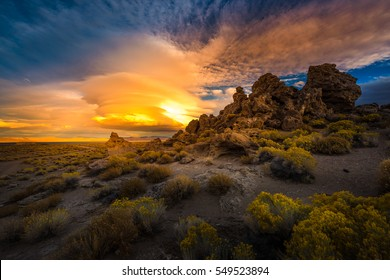 Beautiful Rock Formations at Sunset Pyramid Lake Nevada
