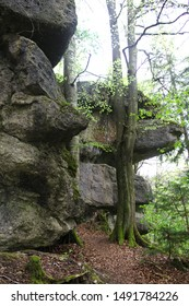 Beautiful rock formations surrounded by forest at Klumpertal, Franconian Switzerland, Bavaria