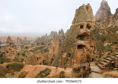 Beautiful rock formations with windows and doorways  in Goreme, Cappadocia  Anatolia, Turkey