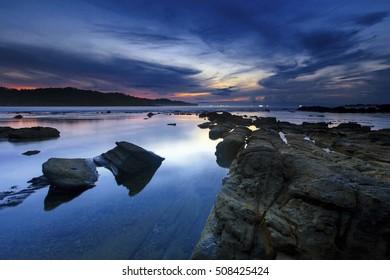Beautiful rock on the Beach,,Locations Sawarna Beach Banten Indonesia