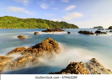 beautiful rock on the high seas,,locations Teluk kiluan Lampung Indonesia