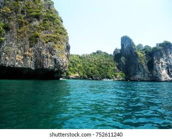 Beautiful rock and sea in Krabi, Thailand.