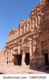 Beautiful rock-carved Palace Tomb facade on the Street of Facades in a famous historical and archaeological city of Petra, Wadi Musa, Jordan