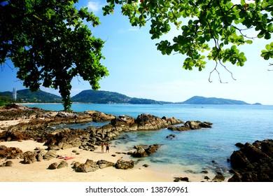 Beautiful Rocks Beach on Phuket island, The Southern of Thailand