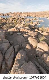 Beautiful rocks leading to Watson Lake in Arizona