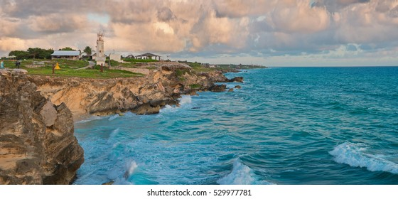 Beautiful rocks at sunrise in Caribbean coast, Isla Mujeres, Mexico. Panoramic view