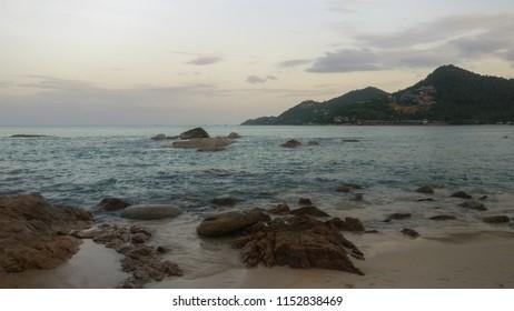 Beautiful rocks in thr beach. Thailand, Samui, Chaweng noi. Paradise