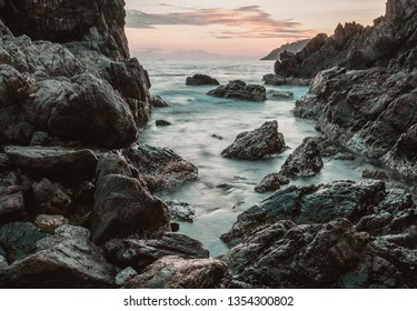 The beautiful rocky beach of Zihuatanejo, Ixtapa, Mexico