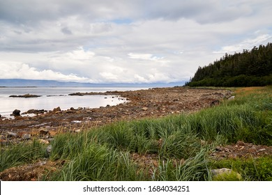 Beautiful rocky coast landscape near Icy Strait Point, Hoonah Alaska.