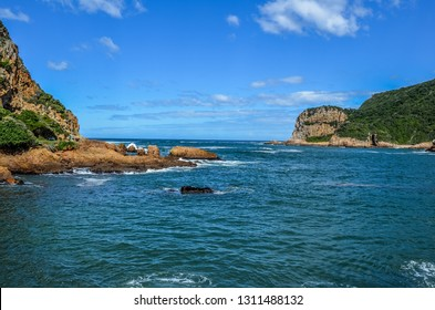 Beautiful rocky Knysna heads in garden route in Western Cape in South Africa where lagoon meets the sea