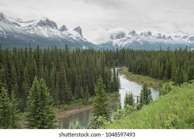 Beautiful Rocky Mountain landscape in Alberta Canada on overcast summer evening