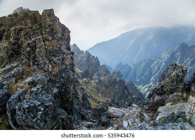 A beautiful rocky mountain landscape in High Tatry, Slovakia