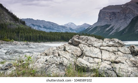 Beautiful Rocky Mountain landscape at Lake Minnewanka in Banff National Park in Alberta Canada