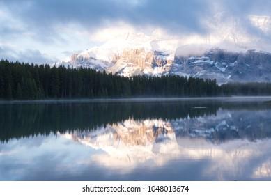 Beautiful Rocky Mountain landscape at Two Jack Lake Front on  Lake Minnewanka in Banff National Park, Alberta, Canada
