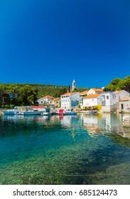 Beautiful rocky port with turquoise water in Bozava,Dugi Otok island, Croatia 2017