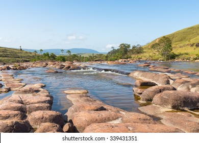 Beautiful rocky river with rapids in Canaima National Park, Venezuela.