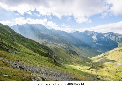 Beautiful rocky view in Fagaras mountains in Southern Carpathians, Romania