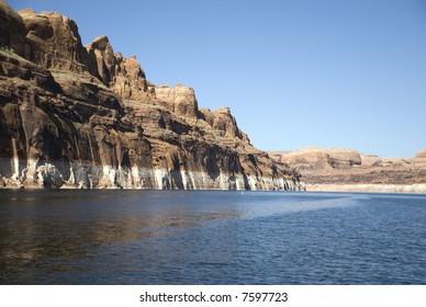 Beautiful rocky walls on Lake Powell, United States
