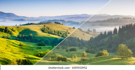 Beautiful rolling countryside around a farm. Amazing view. Location place Carpathian, Ukraine, Europe. Images before and after. Original or retouch, example of photo editing process. Beauty of earth.