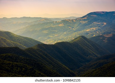 beautiful rolling hills of Carpathian mountains. lovely summer landscape, bird eye view. village Brustury down in the valley, TransCarpathia, Ukraine