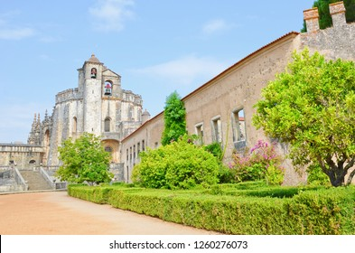 Beautiful romanesque round church belonging to the Convent of Christ complex in portuguese Tomar. The rotunda was constructed by the Knights Templar. The convent is a very popular tourist spot.