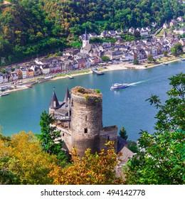 Beautiful romantic castles of Rhein river .view of Katz castle ana St.Goar town