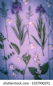 Beautiful, romantic, flower arrangement on fabric