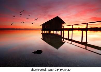 beautiful romantic light - summer evening at lake