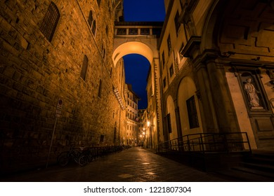 Beautiful and romantic medieval alley in Florence Italy