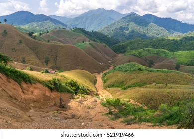 Beautiful romantic mountain route in Thailand, Side road view along the rural road No.1081, Curve of road,tropical road in jungle, Scenic view. Road Landscape in Nan, Northern part Thailand