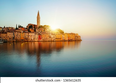 Beautiful romantic old town of Rovinj in Croatia. The coastal city of Rovinj situated in Istria Peninsula east of Croatia Europe, it is the famous travel destination of Croatia.