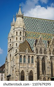Beautiful roof on the Stephansdom (St. Stephen's Cathedral) in Vienna, Austria, Europe.