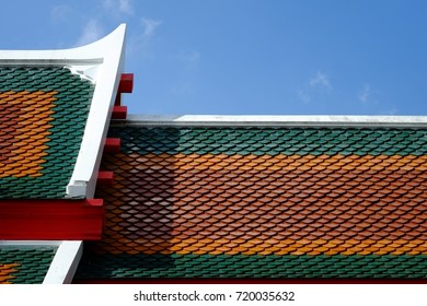 Beautiful roof of temple in thailand.view in blue sky for background use.